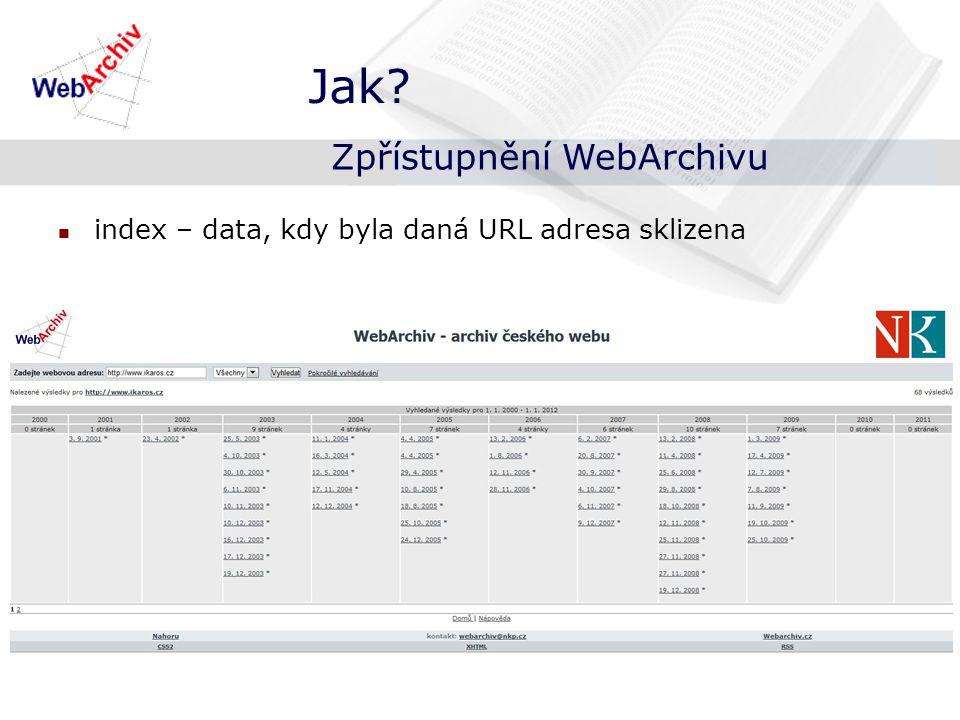 index – data, kdy byla daná URL adresa sklizena Jak Zpřístupnění WebArchivu