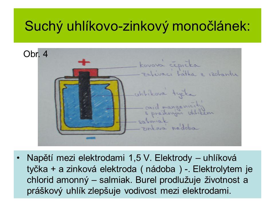 Suchý uhlíkovo-zinkový monočlánek: Napětí mezi elektrodami 1,5 V. Elektrody – uhlíková tyčka + a zinková elektroda ( nádoba ) -. Elektrolytem je chlor