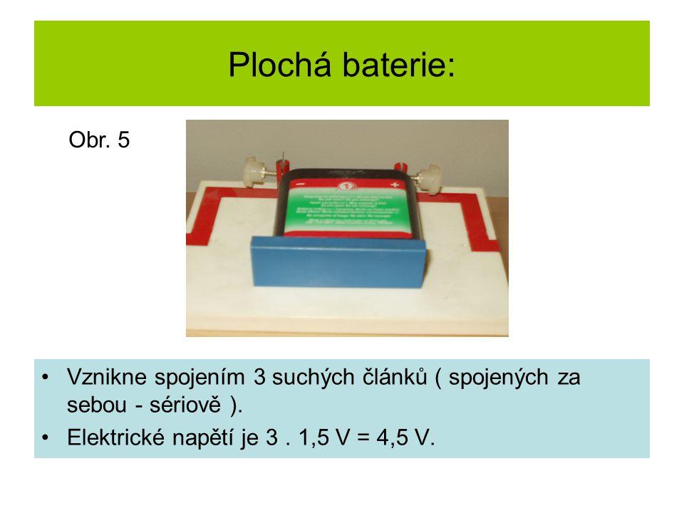 Plochá baterie: Vznikne spojením 3 suchých článků ( spojených za sebou - sériově ). Elektrické napětí je 3. 1,5 V = 4,5 V. Obr. 5