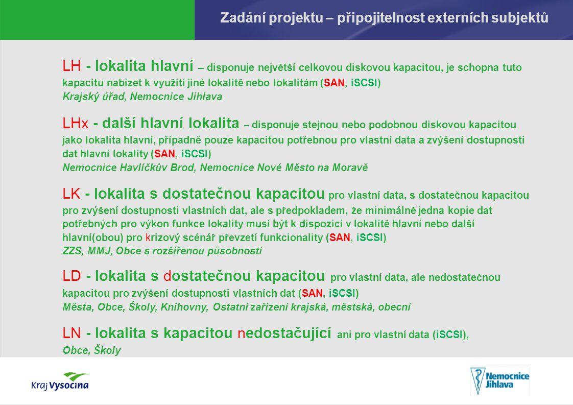 Zadání projektu – připojitelnost externích subjektů LH - lokalita hlavní – disponuje největší celkovou diskovou kapacitou, je schopna tuto kapacitu nabízet k využití jiné lokalitě nebo lokalitám (SAN, iSCSI) Krajský úřad, Nemocnice Jihlava LHx - další hlavní lokalita – disponuje stejnou nebo podobnou diskovou kapacitou jako lokalita hlavní, případně pouze kapacitou potřebnou pro vlastní data a zvýšení dostupnosti dat hlavní lokality (SAN, iSCSI) Nemocnice Havlíčkův Brod, Nemocnice Nové Město na Moravě LK - lokalita s dostatečnou kapacitou pro vlastní data, s dostatečnou kapacitou pro zvýšení dostupnosti vlastních dat, ale s předpokladem, že minimálně jedna kopie dat potřebných pro výkon funkce lokality musí být k dispozici v lokalitě hlavní nebo další hlavní(obou) pro krizový scénář převzetí funkcionality (SAN, iSCSI) ZZS, MMJ, Obce s rozšířenou působností LD - lokalita s dostatečnou kapacitou pro vlastní data, ale nedostatečnou kapacitou pro zvýšení dostupnosti vlastních dat (SAN, iSCSI) Města, Obce, Školy, Knihovny, Ostatní zařízení krajská, městská, obecní LN - lokalita s kapacitou nedostačující ani pro vlastní data (iSCSI), Obce, Školy