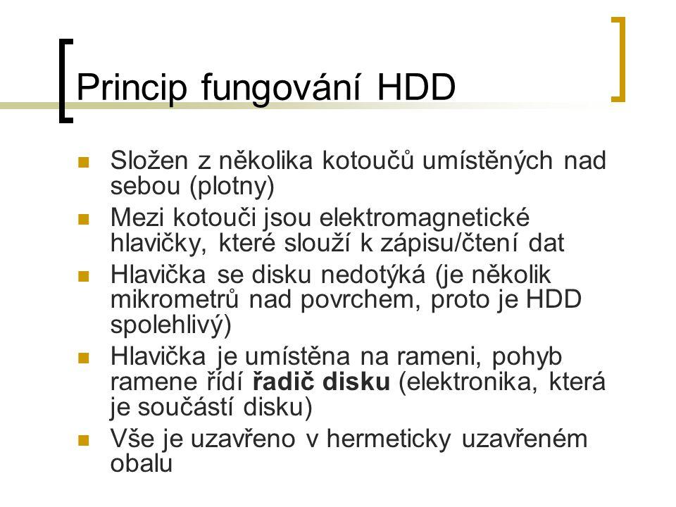 Princip fungování HDD Složen z několika kotoučů umístěných nad sebou (plotny) Mezi kotouči jsou elektromagnetické hlavičky, které slouží k zápisu/čten