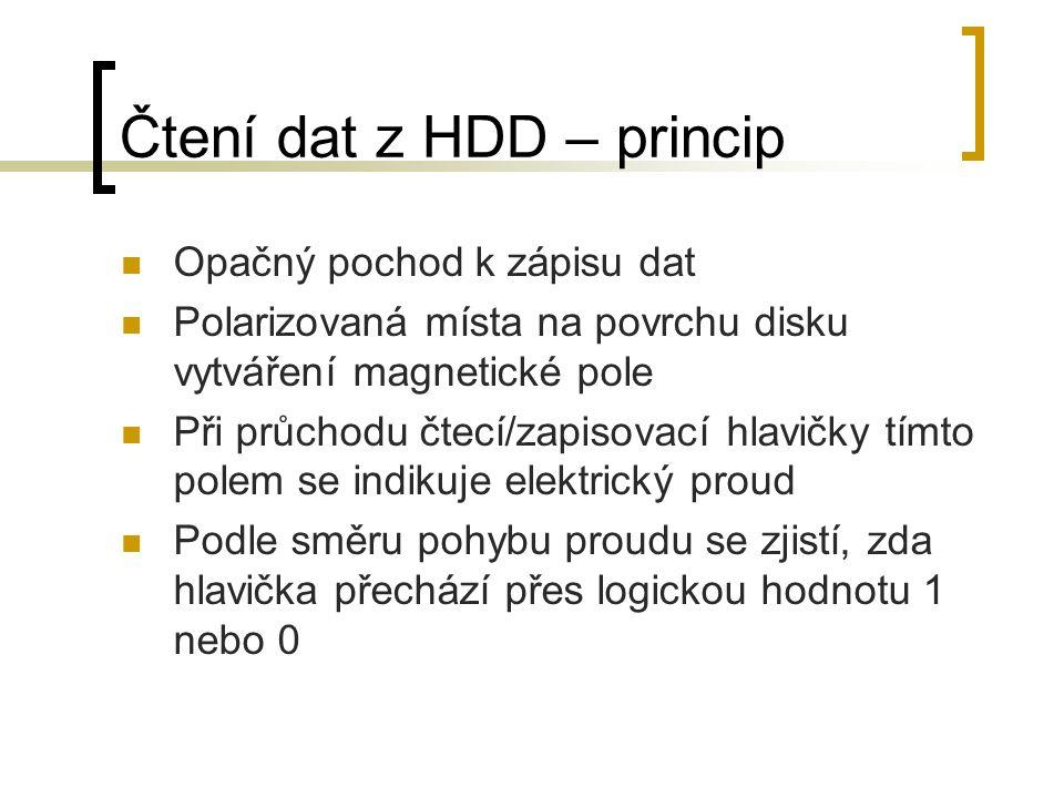 Čtení dat z HDD – princip Opačný pochod k zápisu dat Polarizovaná místa na povrchu disku vytváření magnetické pole Při průchodu čtecí/zapisovací hlavi