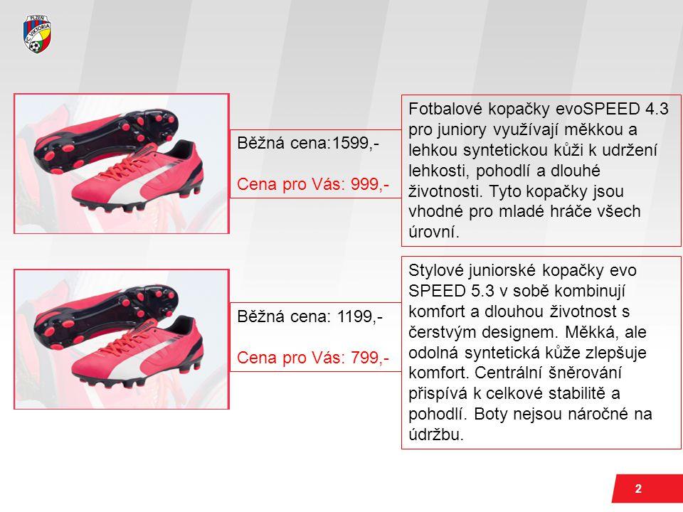 2 Běžná cena:1599,- Cena pro Vás: 999,- Fotbalové kopačky evoSPEED 4.3 pro juniory využívají měkkou a lehkou syntetickou kůži k udržení lehkosti, pohodlí a dlouhé životnosti.
