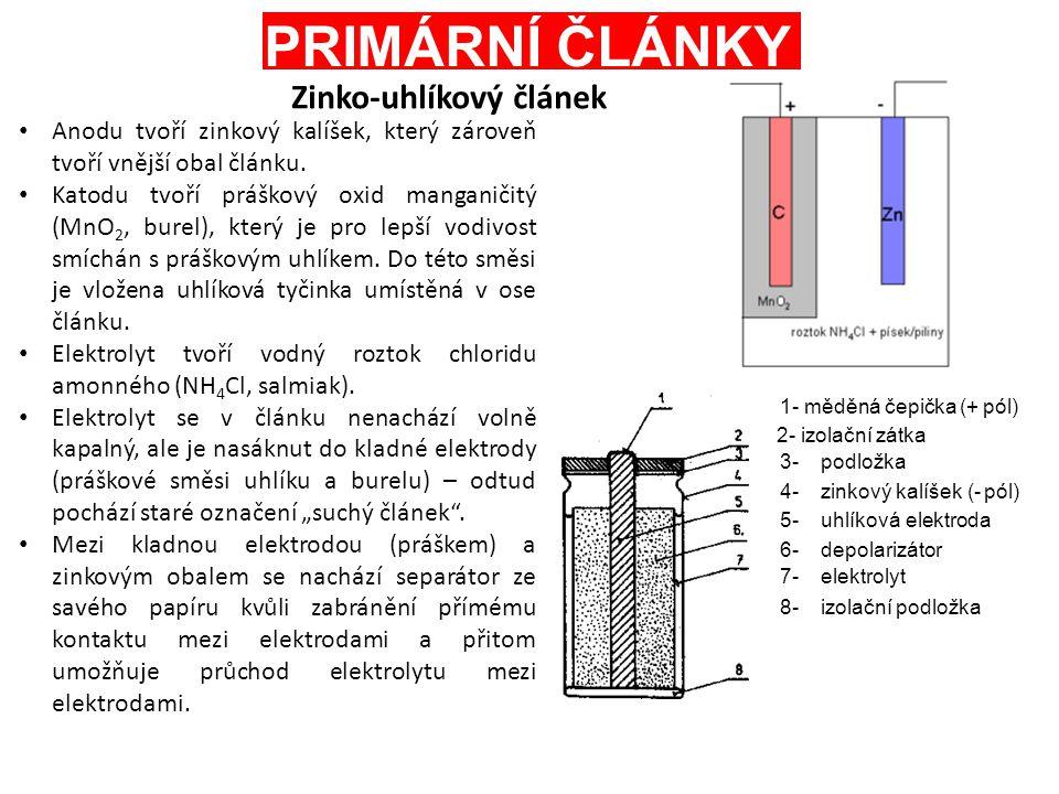 PRIMÁRNÍ ČLÁNKY Anodu tvoří zinkový kalíšek, který zároveň tvoří vnější obal článku. Katodu tvoří práškový oxid manganičitý (MnO 2, burel), který je p
