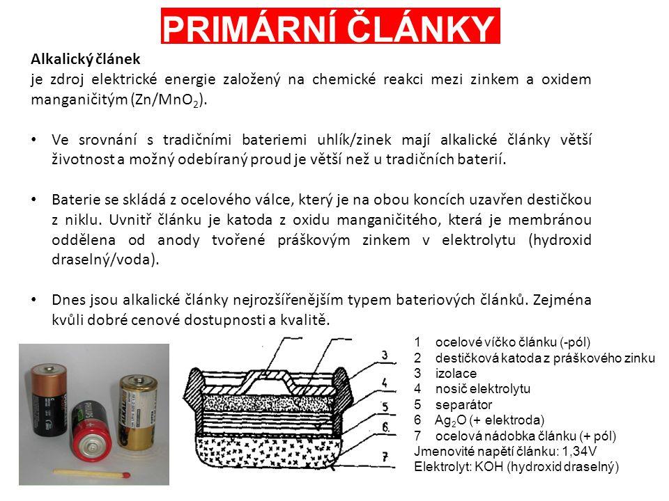 PRIMÁRNÍ ČLÁNKY Alkalický článek je zdroj elektrické energie založený na chemické reakci mezi zinkem a oxidem manganičitým (Zn/MnO 2 ). Ve srovnání s