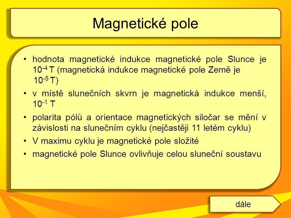 hodnota magnetické indukce magnetické pole Slunce je 10 -4 T (magnetická indukce magnetické pole Země je 10 -5 T) v místě slunečních skvrn je magnetic