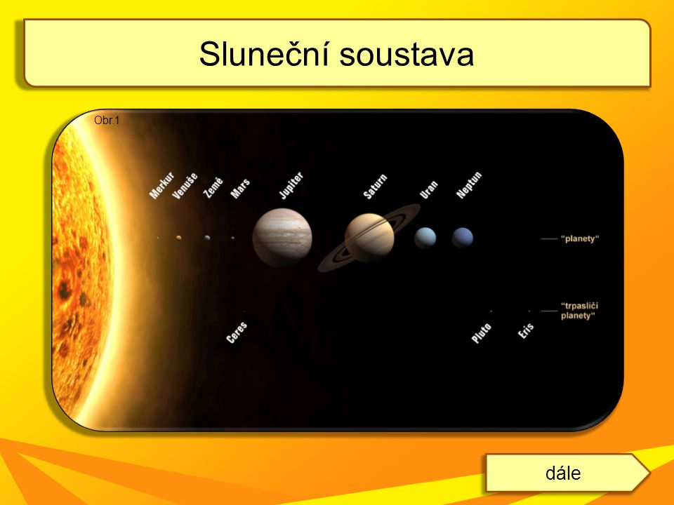 je hvězda, která obíhá okolo středu Mléčné dráhy ve vzdálenosti 25 000 až 28 000 světelných let jeho oběh trvá asi 226 miliónů let od Země je vzdálené 150 miliónů km (1AU – astronomická jednotka) je to naše nejbližší hvězda světlo ze Slunce na Zem dorazí za 8 minut a 19 sekund má hmotnost 1,9891.
