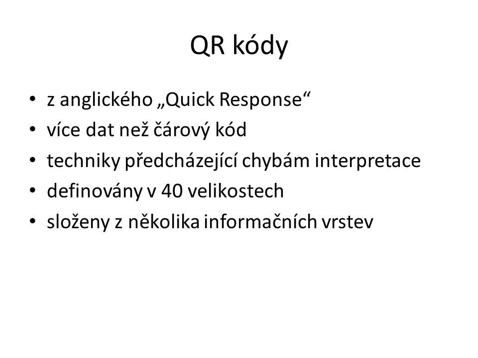 """QR kódy z anglického """"Quick Response"""" více dat než čárový kód techniky předcházející chybám interpretace definovány v 40 velikostech složeny z několik"""