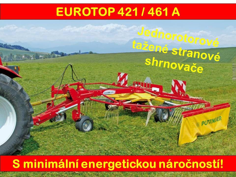 EUROTOP421 A461 A Pracovní záběr4,20 m4,60 m Průměř rotoru3,28 m3,60 m Přepravní šířka2,36 m Počet ramen na rotoru12 Počet demontovatelných ramen na rotoru 12 Počet prstů na ramenu (sériově) 44 Odkládání řádku ve směru jízdy vlevo Nastavení výšky prstůklika Náprava rotoru (sériově)tandem Pneumatiky rotoru (sériově)18,5 x 8,5-8 Hmotnost680 kg835 kg EUROTOP 421 / 461 A
