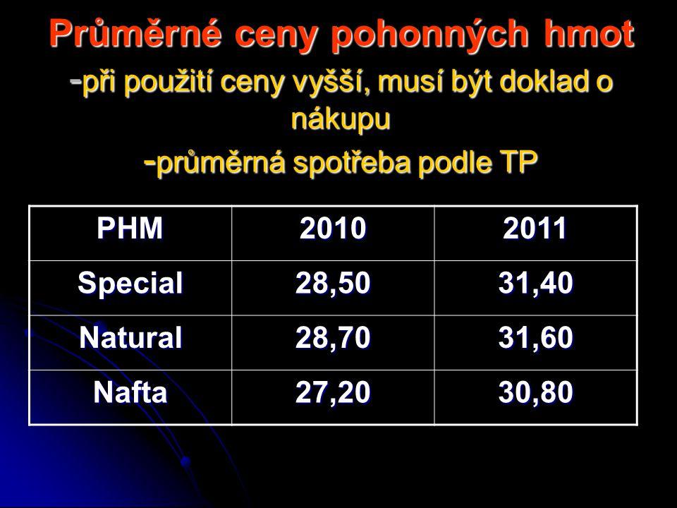 Průměrné ceny pohonných hmot - při použití ceny vyšší, musí být doklad o nákupu - průměrná spotřeba podle TP PHM20102011 Special28,5031,40 Natural28,7