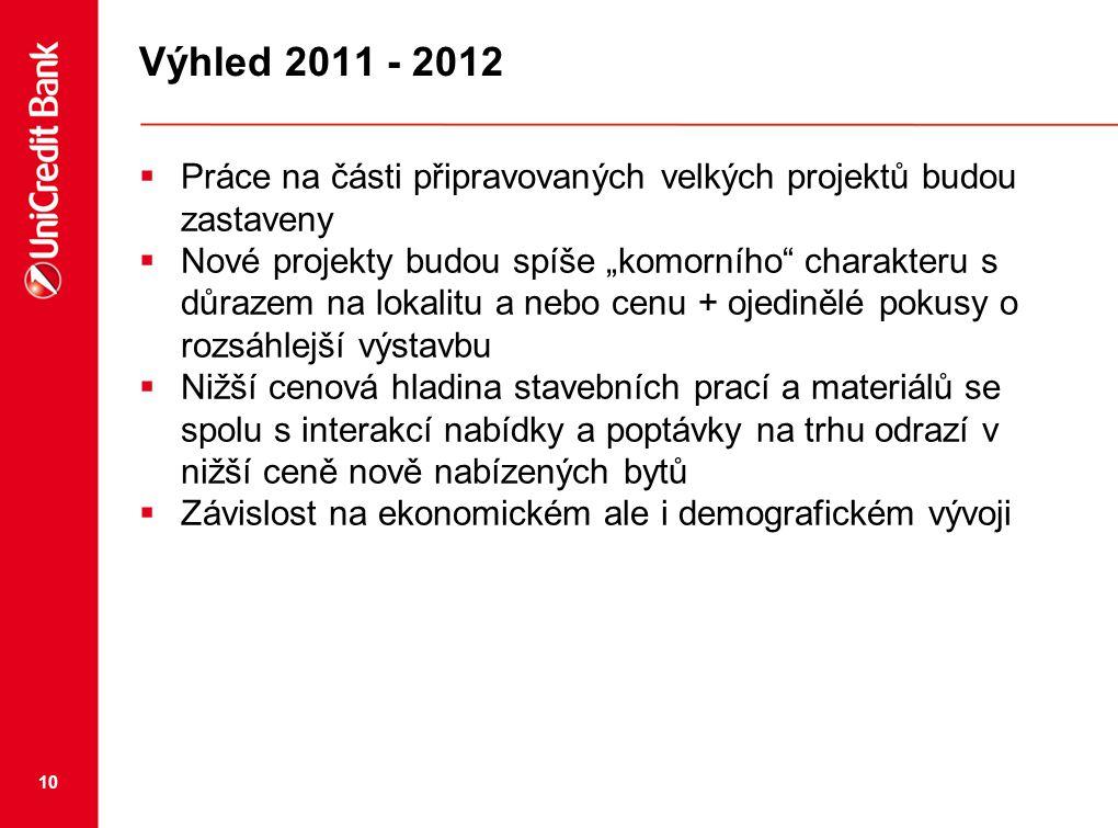 """10 Výhled 2011 - 2012  Práce na části připravovaných velkých projektů budou zastaveny  Nové projekty budou spíše """"komorního"""" charakteru s důrazem na"""