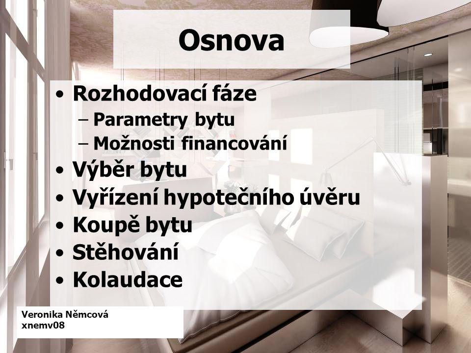 Veronika Němcová xnemv08 Osnova Rozhodovací fáze –Parametry bytu –Možnosti financování Výběr bytu Vyřízení hypotečního úvěru Koupě bytu Stěhování Kolaudace