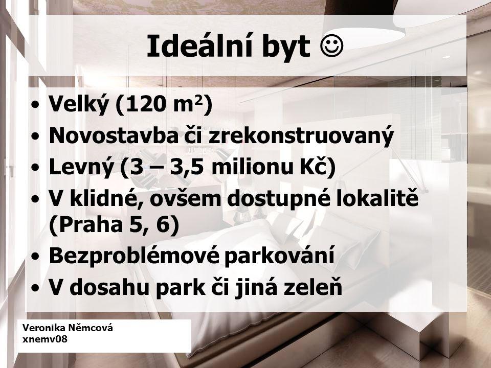Veronika Němcová xnemv08 Ideální byt Velký (120 m 2 ) Novostavba či zrekonstruovaný Levný (3 – 3,5 milionu Kč) V klidné, ovšem dostupné lokalitě (Praha 5, 6) Bezproblémové parkování V dosahu park či jiná zeleň