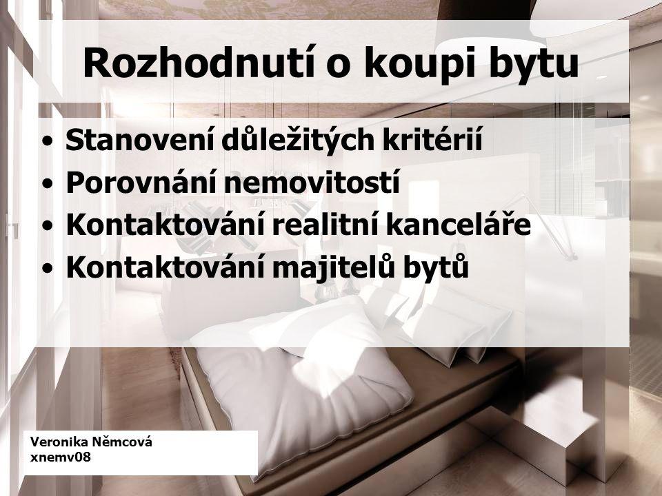 Veronika Němcová xnemv08 Rozhodnutí o koupi bytu Stanovení důležitých kritérií Porovnání nemovitostí Kontaktování realitní kanceláře Kontaktování majitelů bytů
