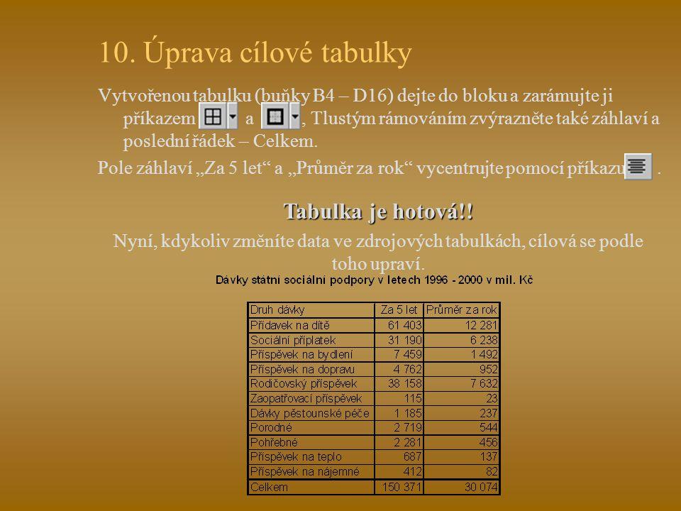 """9. Propojení tabulek - průměry Do buňky záhlaví D4 napište """"Průměr za rok ."""
