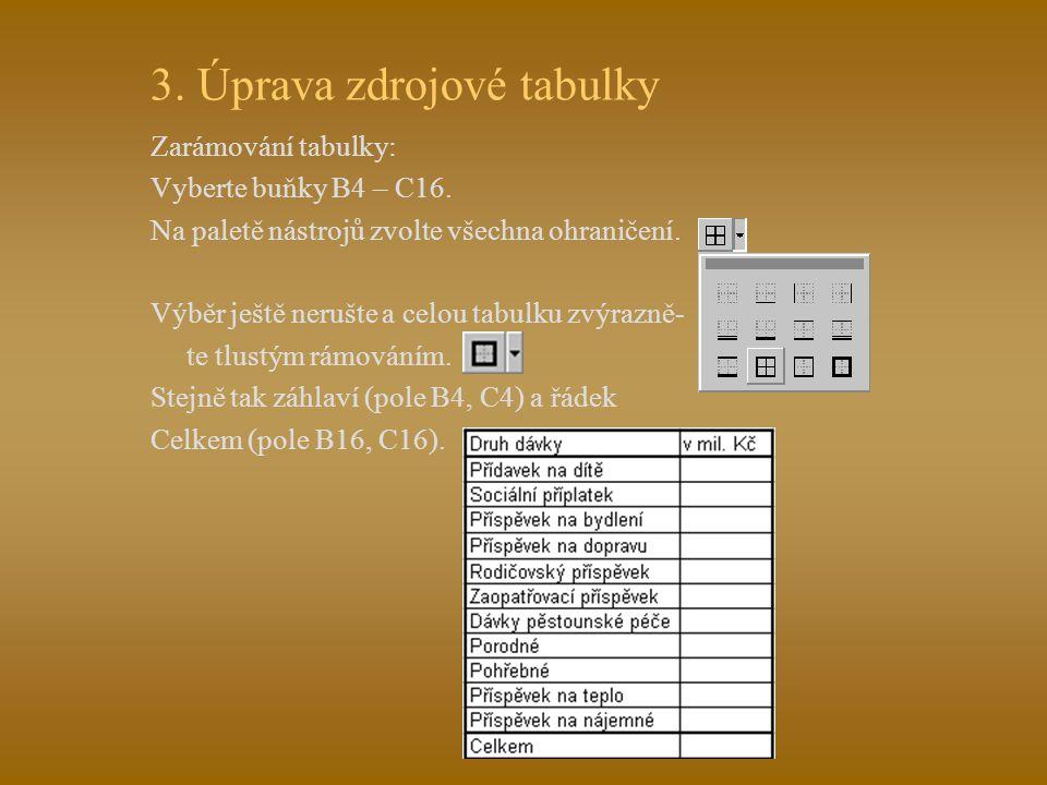 """2. Vytvoření zdrojových tabulek Nejdříve vypíšeme záhlaví: Do pole B4 napište """"Druh dávky"""". Kurzorem """"šipka vpravo"""" přejeďte do pole C5 a napište """"v m"""