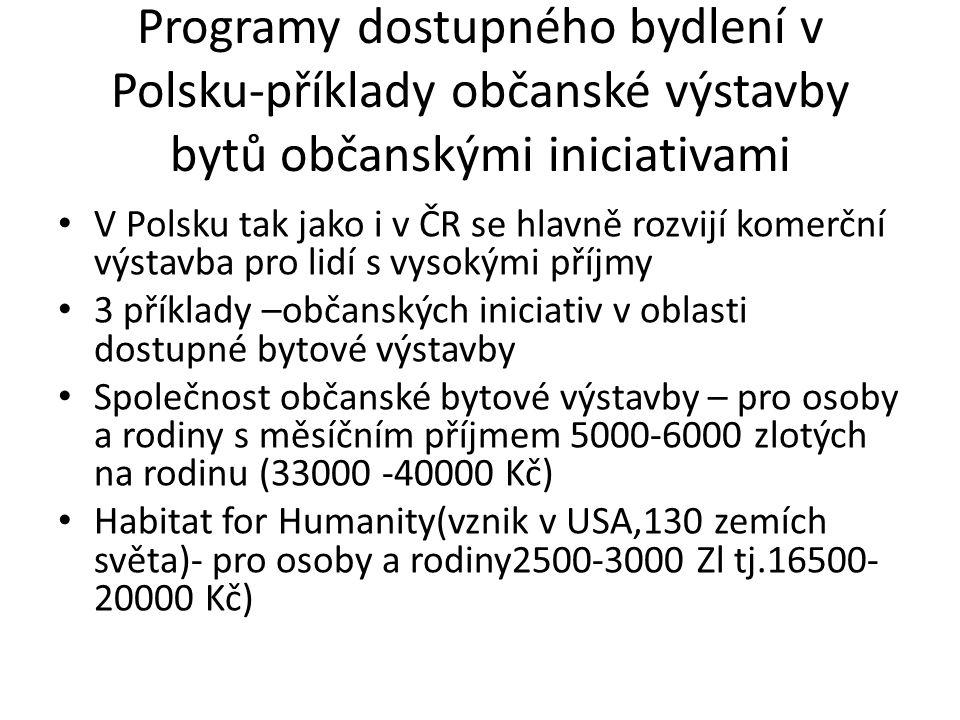 Programy dostupného bydlení v Polsku-příklady občanské výstavby bytů občanskými iniciativami V Polsku tak jako i v ČR se hlavně rozvijí komerční výstavba pro lidí s vysokými příjmy 3 příklady –občanských iniciativ v oblasti dostupné bytové výstavby Společnost občanské bytové výstavby – pro osoby a rodiny s měsíčním příjmem 5000-6000 zlotých na rodinu (33000 -40000 Kč) Habitat for Humanity(vznik v USA,130 zemích světa)- pro osoby a rodiny2500-3000 Zl tj.16500- 20000 Kč)