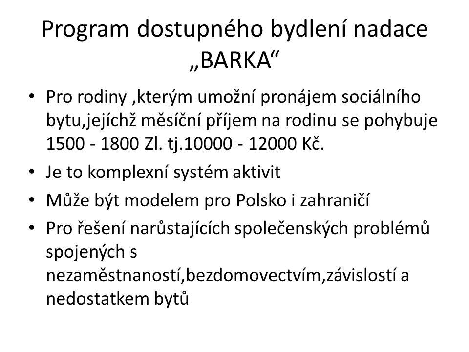 """Program dostupného bydlení nadace """"BARKA Pro rodiny,kterým umožní pronájem sociálního bytu,jejíchž měsíční příjem na rodinu se pohybuje 1500 - 1800 Zl."""