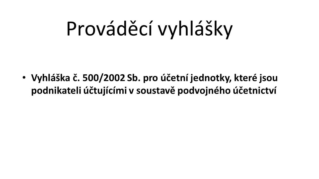 Vyhláška č. 500/2002 Sb. pro účetní jednotky, které jsou podnikateli účtujícími v soustavě podvojného účetnictví Prováděcí vyhlášky
