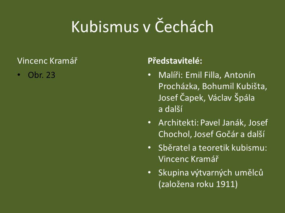 Kubismus v Čechách Vincenc KramářPředstavitelé: Malíři: Emil Filla, Antonín Procházka, Bohumil Kubišta, Josef Čapek, Václav Špála a další Architekti: