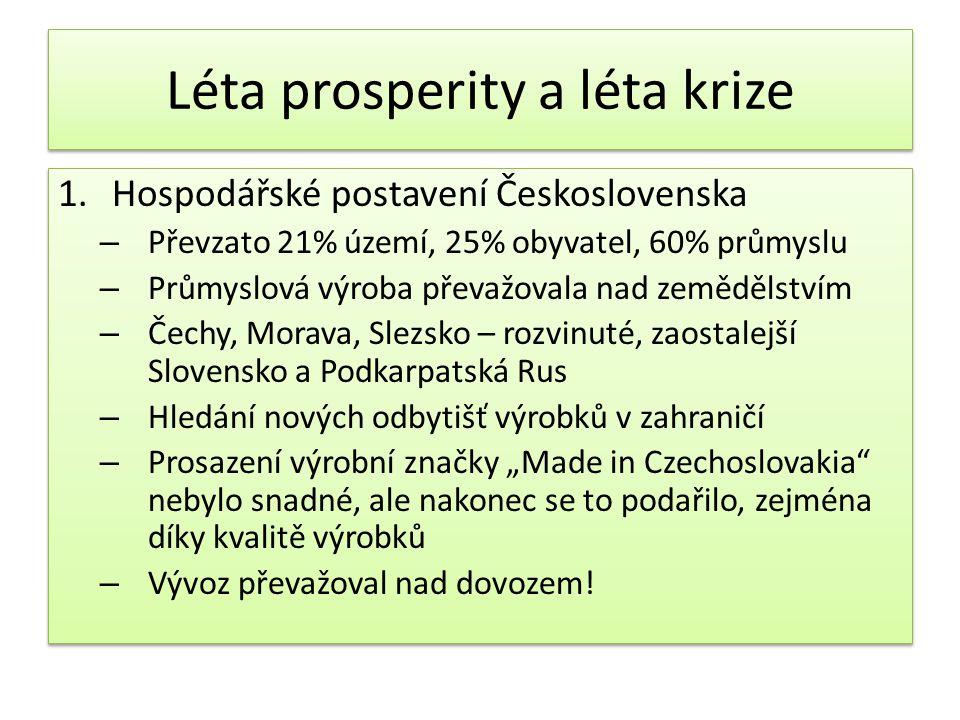 """Léta prosperity a léta krize 1.Hospodářské postavení Československa – Převzato 21% území, 25% obyvatel, 60% průmyslu – Průmyslová výroba převažovala nad zemědělstvím – Čechy, Morava, Slezsko – rozvinuté, zaostalejší Slovensko a Podkarpatská Rus – Hledání nových odbytišť výrobků v zahraničí – Prosazení výrobní značky """"Made in Czechoslovakia nebylo snadné, ale nakonec se to podařilo, zejména díky kvalitě výrobků – Vývoz převažoval nad dovozem."""