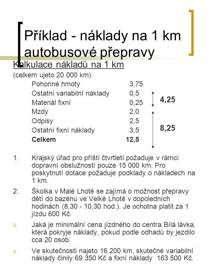 Příklad - náklady na 1 km autobusové přepravy Kalkulace nákladů na 1 km (celkem ujeto 20 000 km) Pohonné hmoty3,75 Ostatní variabilní náklady0,5 Mater