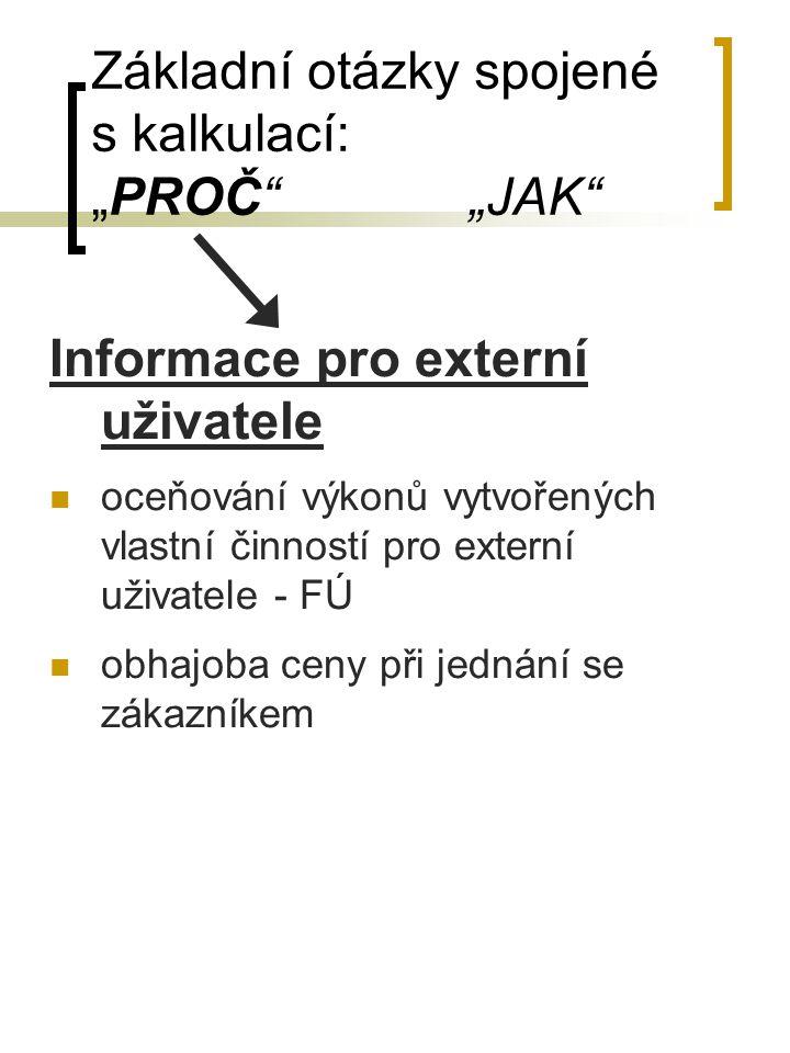"""Základní otázky spojené s kalkulací: """"PROČ"""" """"JAK"""" Informace pro externí uživatele oceňování výkonů vytvořených vlastní činností pro externí uživatele"""