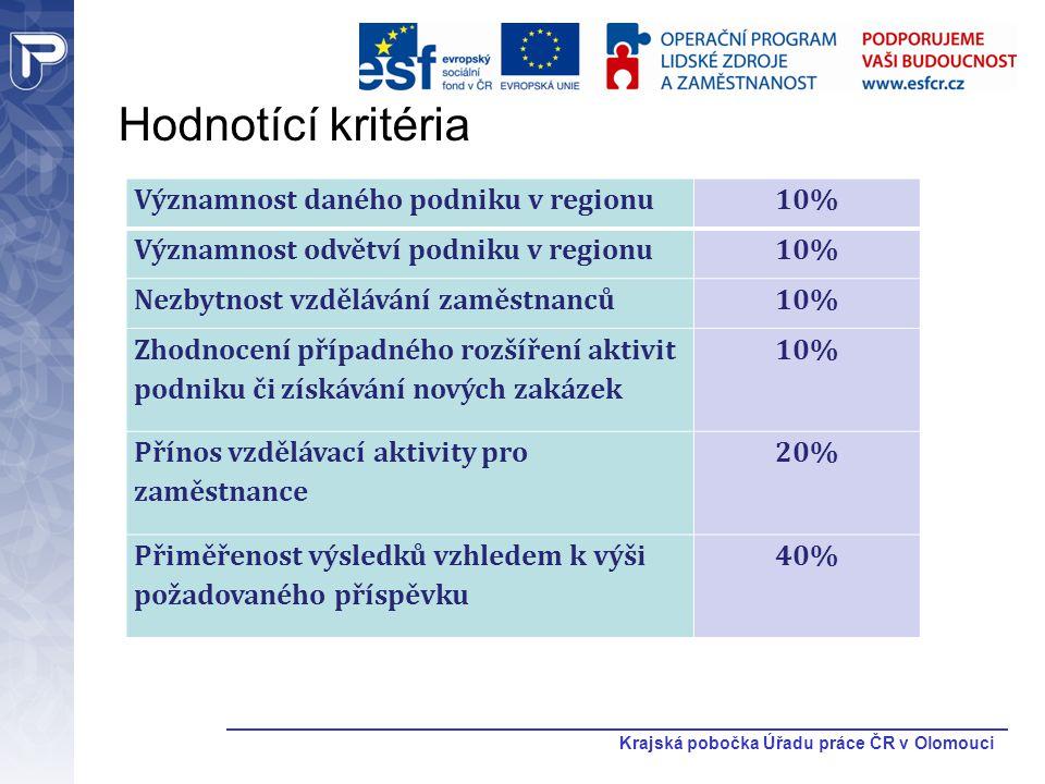 Krajská pobočka Úřadu práce ČR v Olomouci Hodnotící kritéria Významnost daného podniku v regionu10% Významnost odvětví podniku v regionu10% Nezbytnost