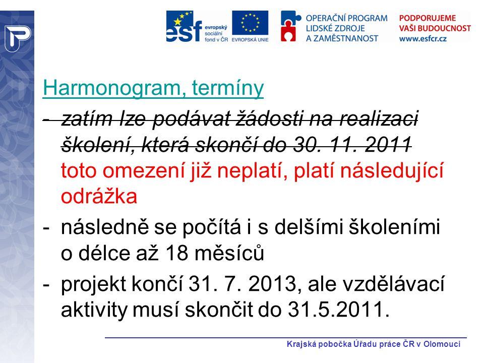 Krajská pobočka Úřadu práce ČR v Olomouci Harmonogram, termíny -zatím lze podávat žádosti na realizaci školení, která skončí do 30. 11. 2011 toto omez