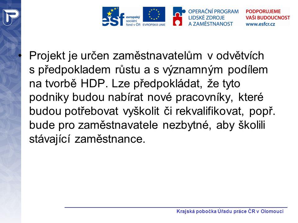 Krajská pobočka Úřadu práce ČR v Olomouci Projekt je určen zaměstnavatelům v odvětvích s předpokladem růstu a s významným podílem na tvorbě HDP. Lze p