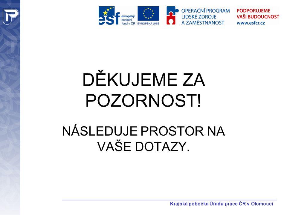 Krajská pobočka Úřadu práce ČR v Olomouci DĚKUJEME ZA POZORNOST! NÁSLEDUJE PROSTOR NA VAŠE DOTAZY.