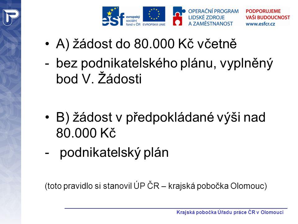 Krajská pobočka Úřadu práce ČR v Olomouci A) žádost do 80.000 Kč včetně -bez podnikatelského plánu, vyplněný bod V. Žádosti B) žádost v předpokládané