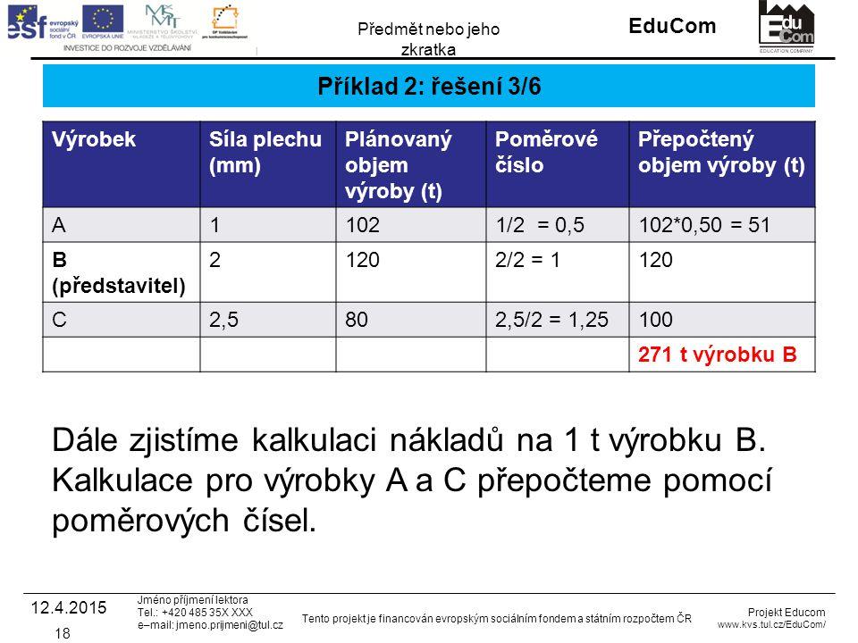 INVESTICE DO ROZVOJE VZDĚLÁVÁNÍ EduCom Projekt Educom www.kvs.tul.cz/EduCom/ Tento projekt je financován evropským sociálním fondem a státním rozpočtem ČR Předmět nebo jeho zkratka Jméno příjmení lektora Tel.: +420 485 35X XXX e–mail: jmeno.prijmeni@tul.cz Příklad 2: řešení 3/6 VýrobekSíla plechu (mm) Plánovaný objem výroby (t) Poměrové číslo Přepočtený objem výroby (t) A11021/2 = 0,5102*0,50 = 51 B (představitel) 21202/2 = 1120 C2,5802,5/2 = 1,25100 271 t výrobku B 12.4.2015 18 Dále zjistíme kalkulaci nákladů na 1 t výrobku B.