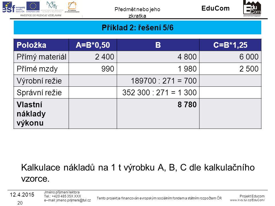 INVESTICE DO ROZVOJE VZDĚLÁVÁNÍ EduCom Projekt Educom www.kvs.tul.cz/EduCom/ Tento projekt je financován evropským sociálním fondem a státním rozpočtem ČR Předmět nebo jeho zkratka Jméno příjmení lektora Tel.: +420 485 35X XXX e–mail: jmeno.prijmeni@tul.cz Příklad 2: řešení 5/6 PoložkaA=B*0,50BC=B*1,25 Přímý materiál2 4004 8006 000 Přímé mzdy9901 9802 500 Výrobní režie189700 : 271 = 700 Správní režie352 300 : 271 = 1 300 Vlastní náklady výkonu 8 780 12.4.2015 20 Kalkulace nákladů na 1 t výrobku A, B, C dle kalkulačního vzorce.