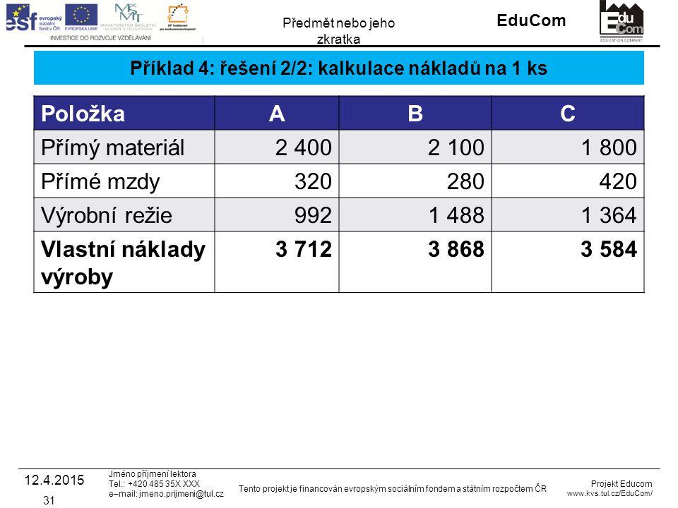 INVESTICE DO ROZVOJE VZDĚLÁVÁNÍ EduCom Projekt Educom www.kvs.tul.cz/EduCom/ Tento projekt je financován evropským sociálním fondem a státním rozpočtem ČR Předmět nebo jeho zkratka Jméno příjmení lektora Tel.: +420 485 35X XXX e–mail: jmeno.prijmeni@tul.cz Příklad 4: řešení 2/2: kalkulace nákladů na 1 ks PoložkaABC Přímý materiál2 4002 1001 800 Přímé mzdy320280420 Výrobní režie9921 4881 364 Vlastní náklady výroby 3 7123 8683 584 12.4.2015 31