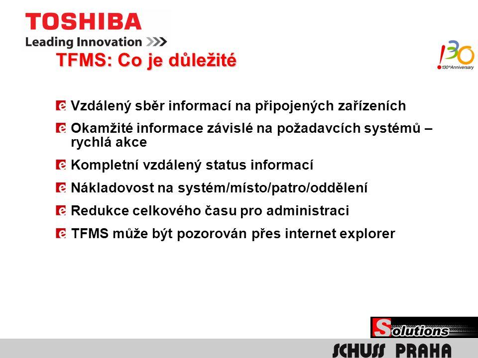 TFMS: Co je důležité Vzdálený sběr informací na připojených zařízeních Okamžité informace závislé na požadavcích systémů – rychlá akce Kompletní vzdál