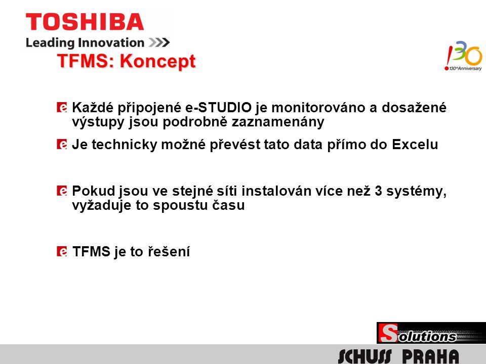 TFMS: Koncept TFMS je instalovaný na server Všechna připojená e-STUDIA posílají info na server Klíčový operátor je informován přes email
