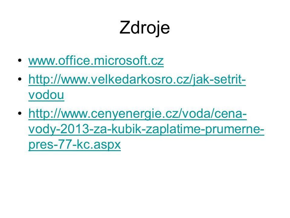Zdroje www.office.microsoft.cz http://www.velkedarkosro.cz/jak-setrit- vodouhttp://www.velkedarkosro.cz/jak-setrit- vodou http://www.cenyenergie.cz/voda/cena- vody-2013-za-kubik-zaplatime-prumerne- pres-77-kc.aspxhttp://www.cenyenergie.cz/voda/cena- vody-2013-za-kubik-zaplatime-prumerne- pres-77-kc.aspx