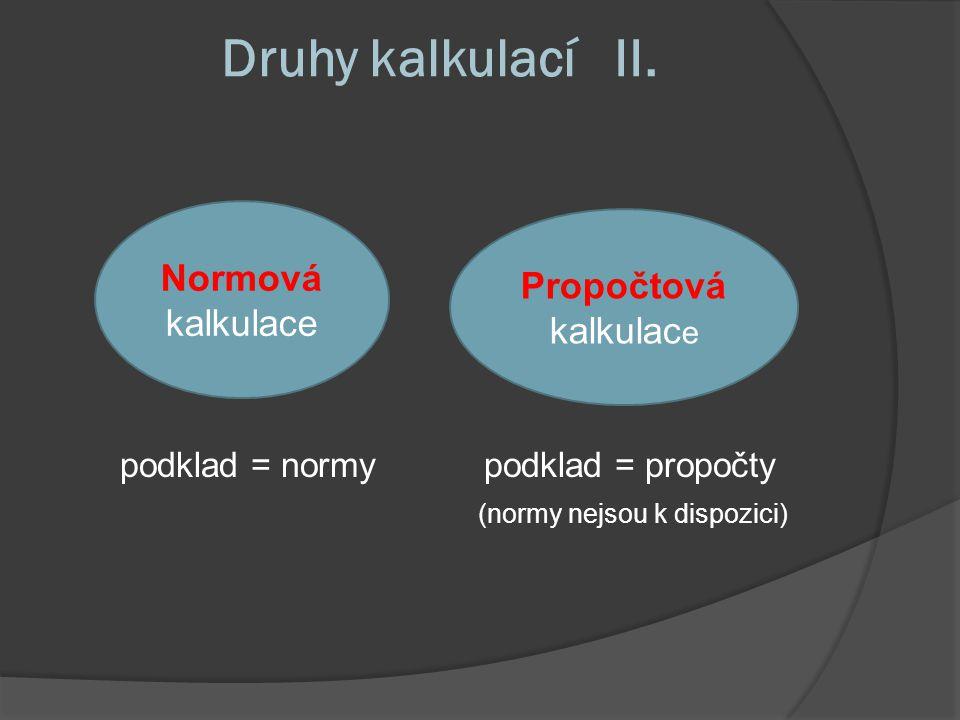 Druhy kalkulací II. podklad = normy podklad = propočty (normy nejsou k dispozici) Normová kalkulace Propočtová kalkulac e