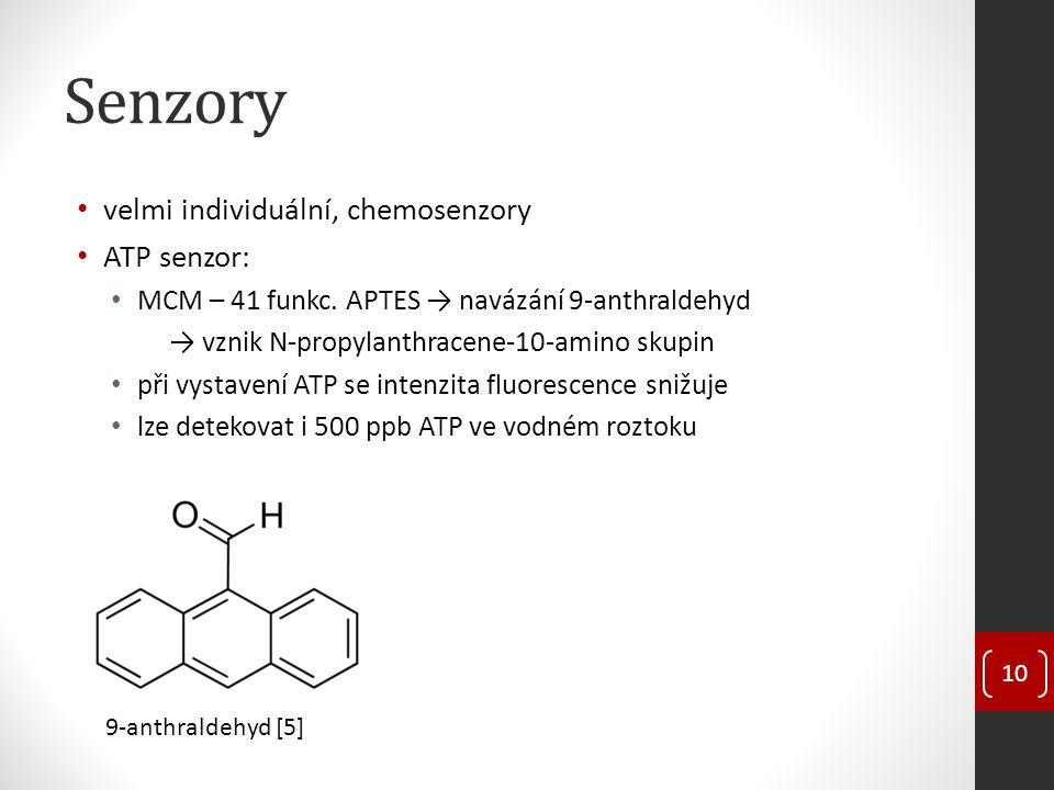 Senzory velmi individuální, chemosenzory ATP senzor: MCM – 41 funkc. APTES → navázání 9-anthraldehyd → vznik N-propylanthracene-10-amino skupin při vy