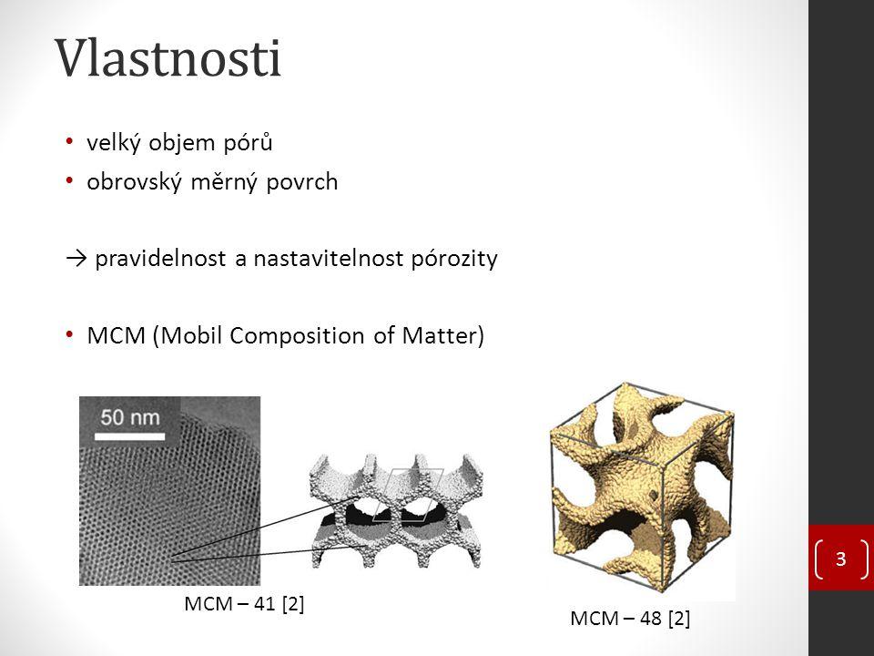 Vlastnosti velký objem pórů obrovský měrný povrch → pravidelnost a nastavitelnost pórozity MCM (Mobil Composition of Matter) MCM – 41 [2] MCM – 48 [2]