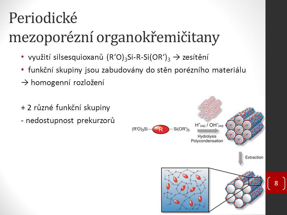 Periodické mezoporézní organokřemičitany využití silsesquioxanů (R'O) 3 Si-R-Si(OR') 3 → zesítění funkční skupiny jsou zabudovány do stěn porézního materiálu → homogenní rozložení + 2 různé funkční skupiny - nedostupnost prekurzorů 8