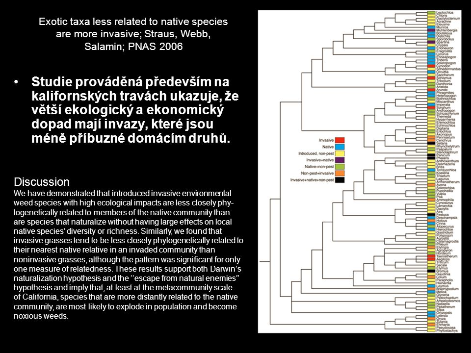 Exotic taxa less related to native species are more invasive; Straus, Webb, Salamin; PNAS 2006 Studie prováděná především na kalifornských travách uka