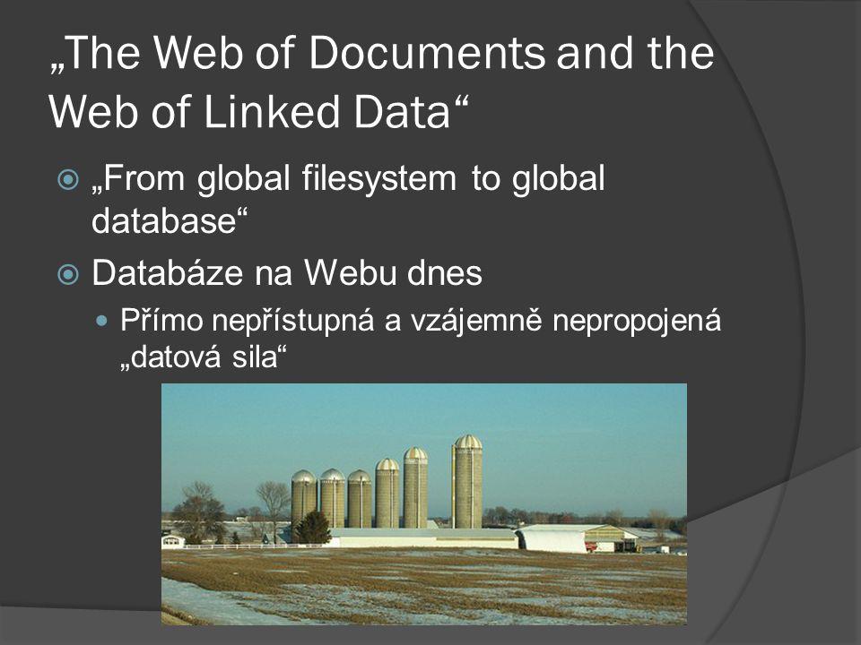 """""""Web of Linked Data (1)  Strukturovaná RDF data vzájemně """"prolinkována odkazy  Koncept Linked Data """"zazěhnuto iniciativou Linking Open Data project ○ http://esw.w3.org/topic/SweoIG/TaskForces/C ommunityProjects/LinkingOpenData http://esw.w3.org/topic/SweoIG/TaskForces/C ommunityProjects/LinkingOpenData"""