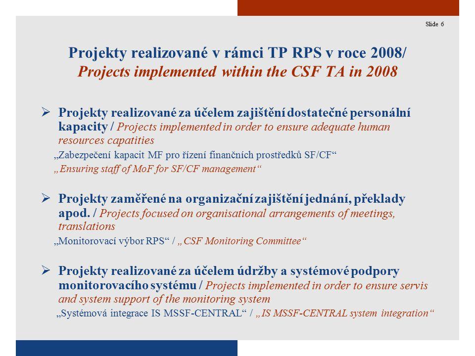 """6 Projekty realizované v rámci TP RPS v roce 2008/ Projects implemented within the CSF TA in 2008  Projekty realizované za účelem zajištění dostatečné personální kapacity / Projects implemented in order to ensure adequate human resources capatities """"Zabezpečení kapacit MF pro řízení finančních prostředků SF/CF """"Ensuring staff of MoF for SF/CF management  Projekty zaměřené na organizační zajištění jednání, překlady apod."""