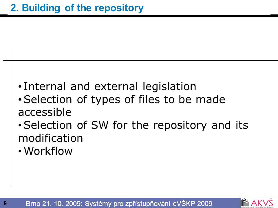 10 Brno 21.10. 2009: Systémy pro zpřístupňování eVŠKP 2009 External legislation Act No.