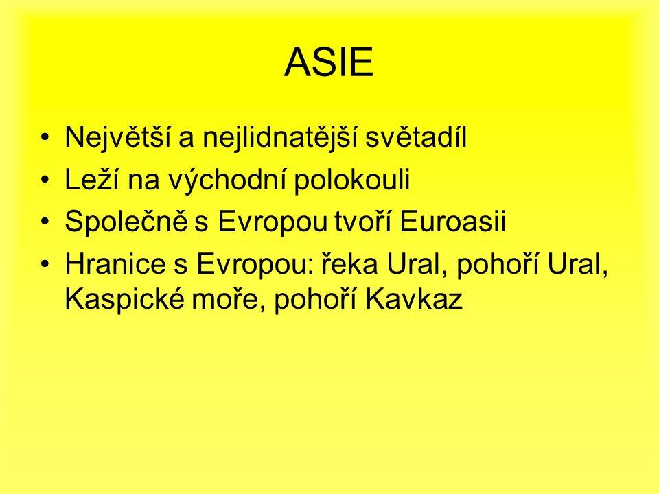 Největší a nejlidnatější světadíl Leží na východní polokouli Společně s Evropou tvoří Euroasii Hranice s Evropou: řeka Ural, pohoří Ural, Kaspické moře, pohoří Kavkaz