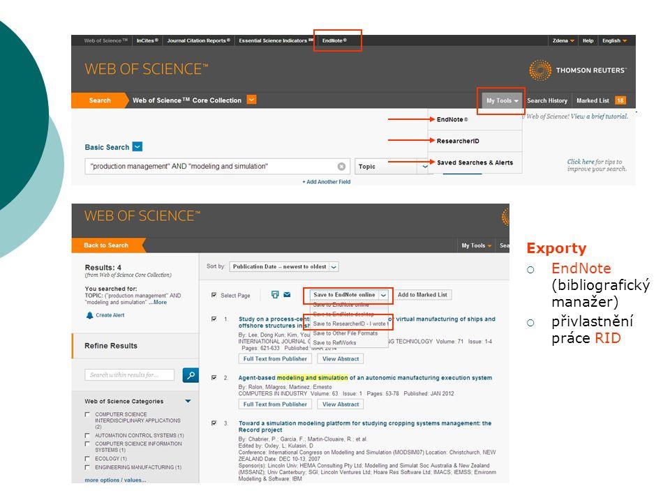 Exporty  EndNote (bibliografický manažer)  přivlastnění práce RID
