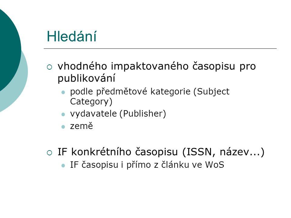 Hledání  vhodného impaktovaného časopisu pro publikování podle předmětové kategorie (Subject Category) vydavatele (Publisher) země  IF konkrétního časopisu (ISSN, název...) IF časopisu i přímo z článku ve WoS