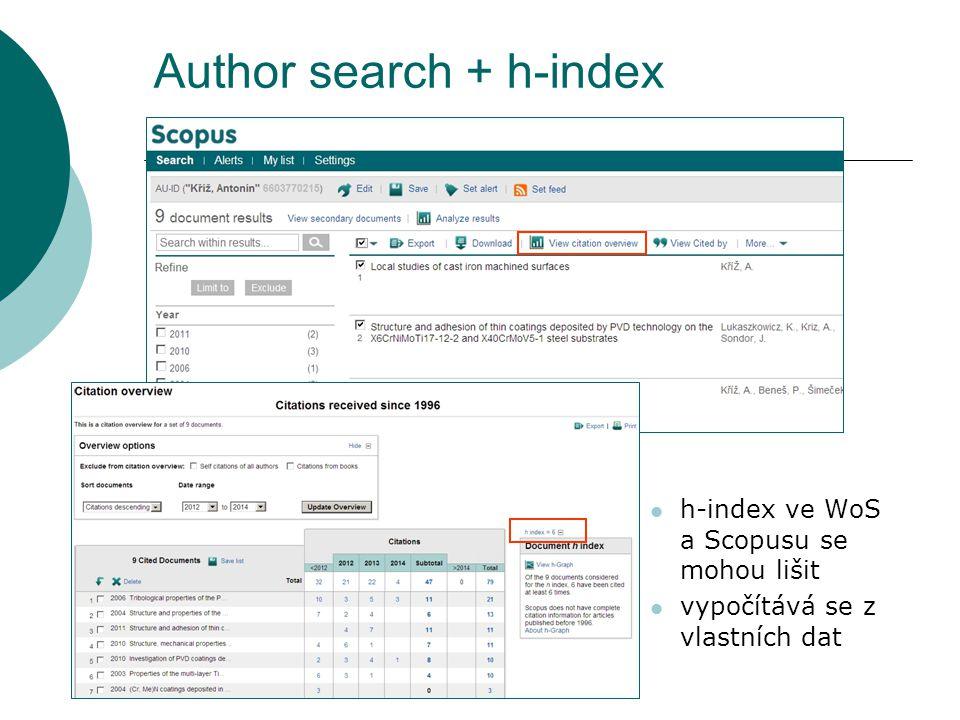 Author search + h-index h-index ve WoS a Scopusu se mohou lišit vypočítává se z vlastních dat